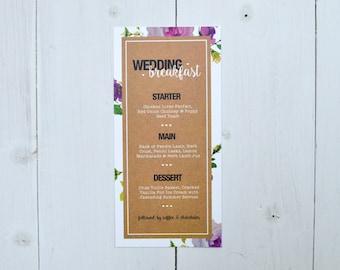 Fabulous Floral Wedding Menu