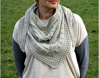 Hand knit shawl 36 color options Knitted cotton shawl Knit wraps shawl Triangular shawl Knitted shawl Vegan knit shawl Birthday gift shawl