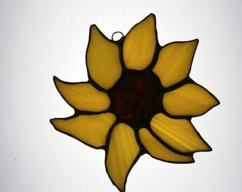Stained glass yellow sunflower suncatcher