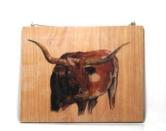 Texas Longhorn Wood Art Transfer