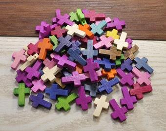 Wood Cross 22x15mm,30pcs Colorful Small Bare Wood Cross Bead,Wood Cross Pendant,Wood Cross Necklace