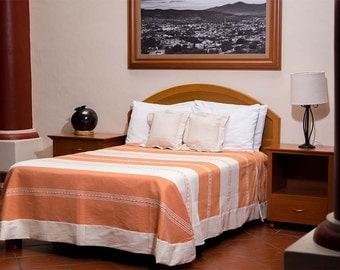 Mitla Bedspread - Orange with natural