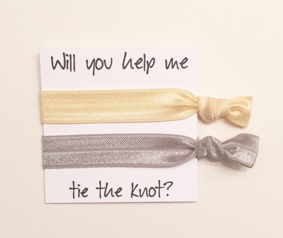 Bridesmaid hair tie favor//pale yellow & light grey//hair tie card//party favor//bridesmaid gift