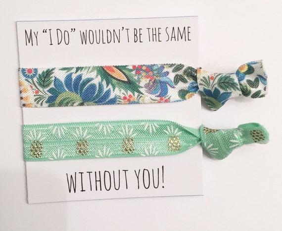 Bridesmaid hair tie favors//bridesmaid gift, bachelorette party favor,hair tie card,elastic hair tie bracelet,bachelorette favor
