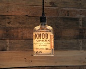 Knob Creek Small Batch Pendant Light - Upcycled Industrial Hanging Light - Handmade x Bottle Light Fixture, Dorm Lighting, Apartment Light