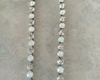 White opal and crystal Swarovski necklace