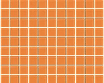 1-inch apricot orange glass tile (J1502A)