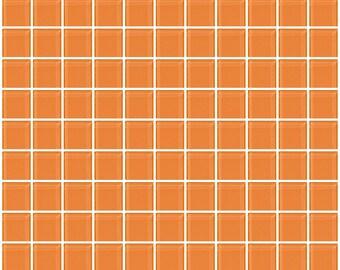 1-inch apricot orange glass tile