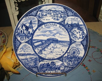 Vintage plate souvenir old orchard beach maine blue willow