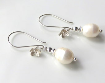 White Pearl Dangle Earrings, Milk White Freshwater Pearls, Floral Ear Wires,Sterling Silver Wedding Jewelry, Bridal,