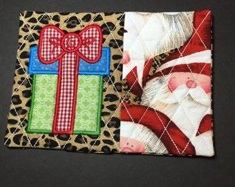 Christmas Mug Rug, Christmas Coaster, Santa, Present, Leopard print, Table Decoration, Stocking Stuffer, Christmas Gift, Hostess Gift,