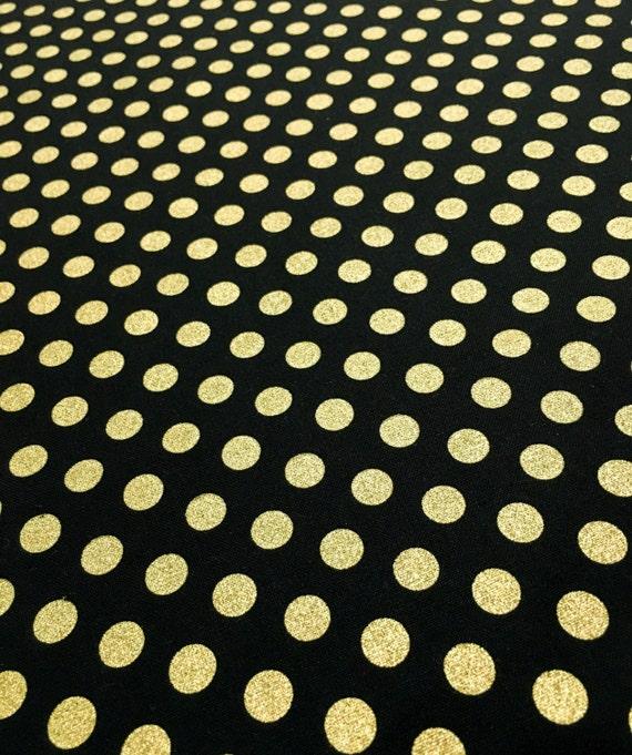 Metallic Gold Polka Dot On Black Geometric Fabric Ideal For