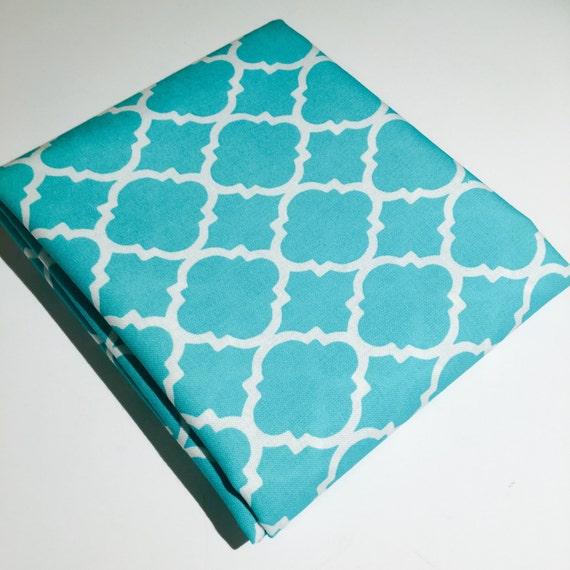 Teal Quatrefoil Fabric Light Blue Geometric Moroccan Pattern