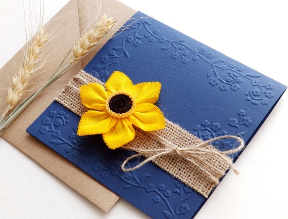 Wedding Invitations With Burlap: Items Similar To Handmade Sunflower Wedding Invitation