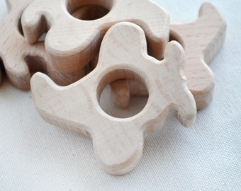 Unfinished Wooden Plane Shape - Wooden Plane Pendant - Unpainted Wood - Plane Teether Diy - Wooden Plane toy