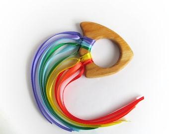 Easter gift - Waldorf Hand Kite - Rainbow Ribbon Sensory Hand Kite - Organic Teethers Toys - Waldorf Toy - Organic Toys - Wood Baby Teether