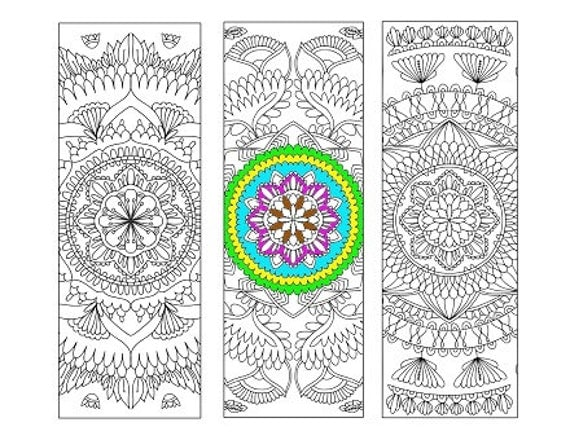 Bookmarks Coloring Printable, scaleable PDF, size 8.5 x 11 inches (Letter), Instant Download. Vector graphics, Bookmark for Coloring. 39v.
