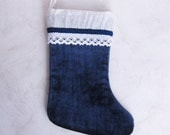 Christmas stocking Christmas sock of of velvet blue color Christmas Decoration of fireplace Christmas Gift Idea for a family