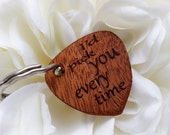 Custom Wooden  Guitar Pick Key Chain, Gift Wrapped