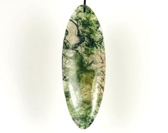 53mm x 18mm Clear Moss Agate Oval Pendant - #JL6018