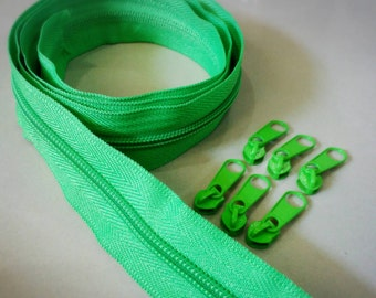 3 Yards  Zipper #5 with Free 6 Pulls, Neon Green Zipper by the Yard, Zipper # 5, Zipper by the Yard.