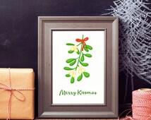 Merry Kissmas Merry Christmas print, Christmas printable poster, Christmas mistletoe decoration wall art, Mistletoe print, Christmas gift