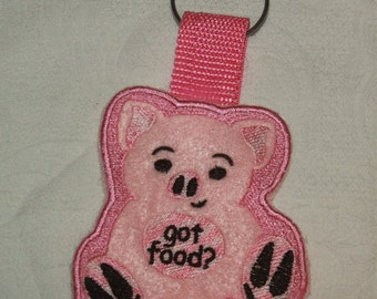 Embroidered pig key chain