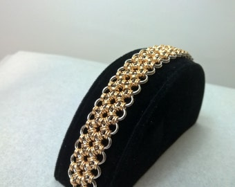 3 row Japanese 12-in-2 silver and gold bracelet