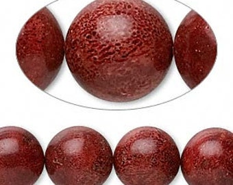 Red Bead, Coral Bead, Brick Red, 12mm, 6 each, D869