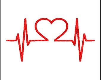 Heartbeat Rhythm Embroidery Design