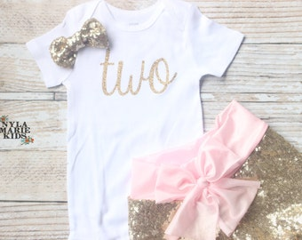 2nd Birthday Outfit, Girls Birthday, baby sequin shorts, Gold birthday outfit, toddler birthday