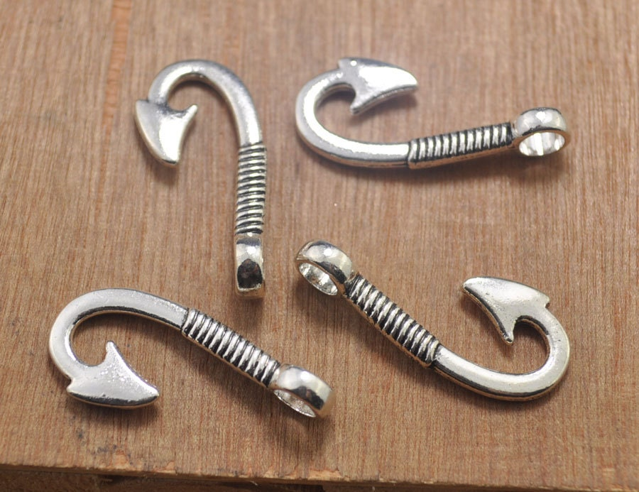 20 pcs fish hook fish hook charm hook charm fish hook for Fish hook charm