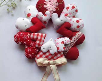 Shabby Chic Red and White Hanging Heart Wreath