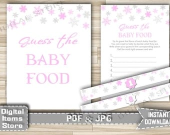 Winter Pink Guess The Baby Food Printable - Baby Shower Guess The Baby Food Game Snowflake Pink for baby girl - Instant Download - sp2