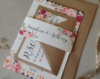Floral rustic Wedding Invitation with matching RSVP - Rustic Wedding Invite