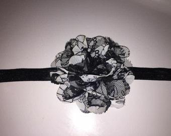 Large Lace Flower on Black elastic