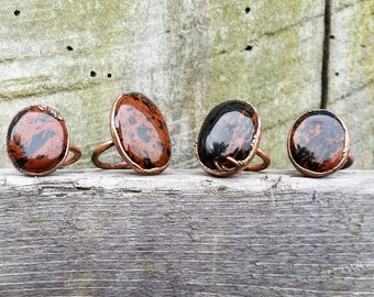 Mahogany Obsidian Rings-Electroformed Obsidian Rings-Copper Crystal Rings-Obsidian Ring-Red Obsidian Rings-Fall Rings-Earthy Rings