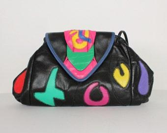 80's Colorful Geometric Patchwork Purse/ Black 80's Shoulder Bag