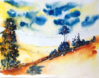 Rural landscape painting Original watercolor painting Autumn landscape painting Original painting Original art watercolor landscape painting