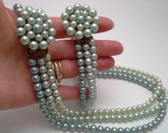 Blue Japan Pearls, Vintage Blue Pearls, Blue Pearl Set, 3 Strand Pearls, Blue Pearl Bracelet, Blue Pearl Necklace, Japan Pearl Set