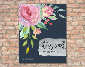 It Is Well With My Soul | Canvas Decor | Bible Verse Canvas | Scripture Print | Bible Art