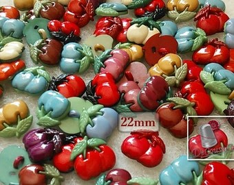 BF19, 8 buttons, Cherry, 22mm, vintage, FREE Shipping with another purchase.