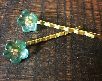 Turquoise Bobby Pins, Gold Bobby Pins, Decorative Bobby Pins, Hair Pins