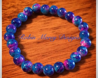 Pretty Purple, Pink & Blue beaded stretch bracelet