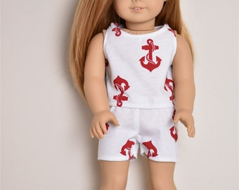 Red Anchors Pajamas  American Girl doll Clothes