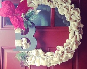 Customized Initial Christmas Wreath Rustic Decor