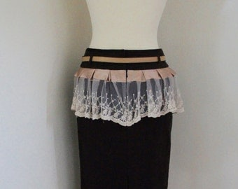 Dieselpunk Upcycled Brown Knee Length Pencil Skirt With Lace Bustle And Faux Leather Belt Size UK 10