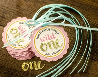12 Wild one favor tags, one, first birthday, personalize