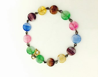 1950s Multi Coloured Art Glass Bracelet.
