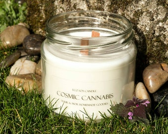 Eco Soy Candle Cosmic Cannabis Candle 2 Wood Wick Extra Large 380ml Candle Tuur & Mor